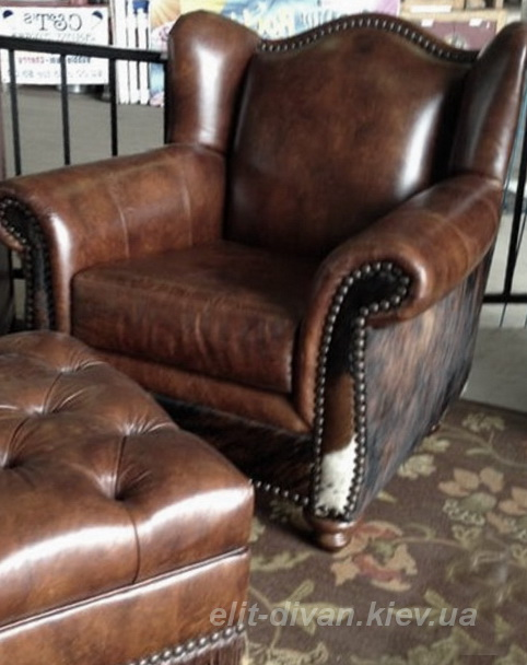 кожаное кресло с пуфиком под заказ