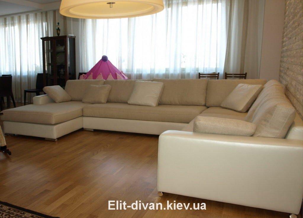 дорогой бежевый диван буквой п под заказ Киев