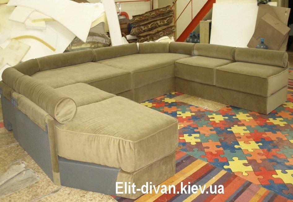 п-образный диван с подушками под заказ Киев