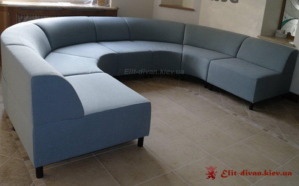 голубой радиусный модульный диван