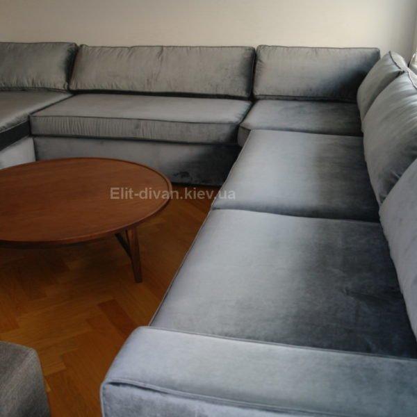 белый модульный диван голубой