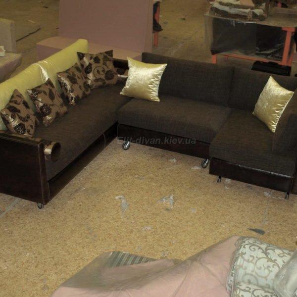 заказать модульный диван темный с подушками