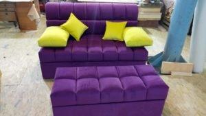 сиреневое кресло с пуфиком под заказ