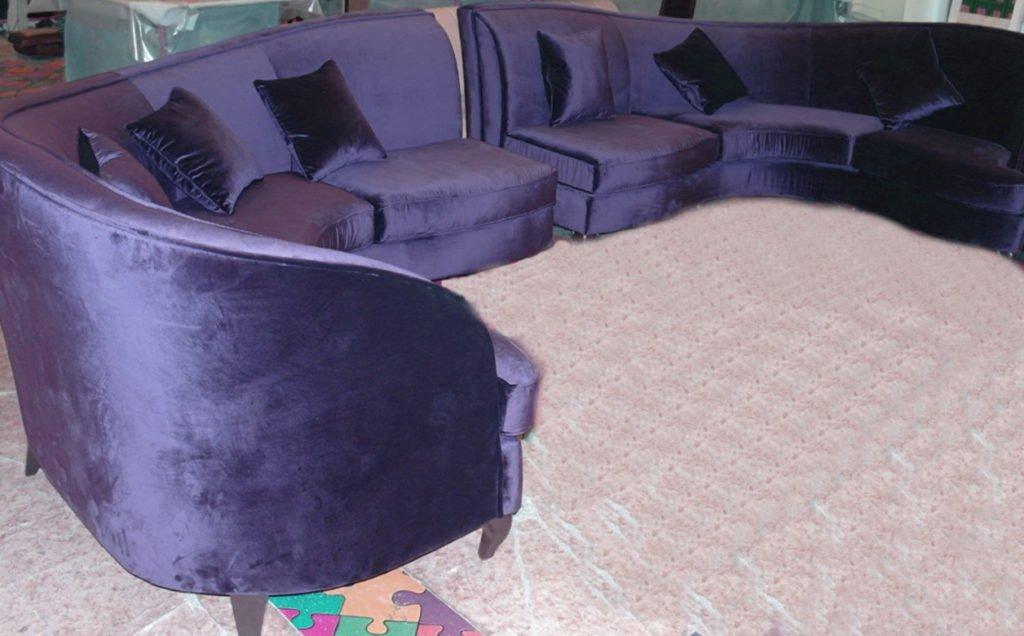 Радиусный диван сиреневый