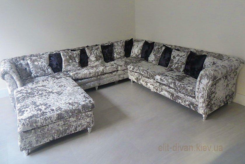 п-образный диван с подушками под заказ
