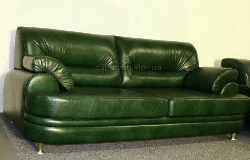 зеленый диван из кожзама