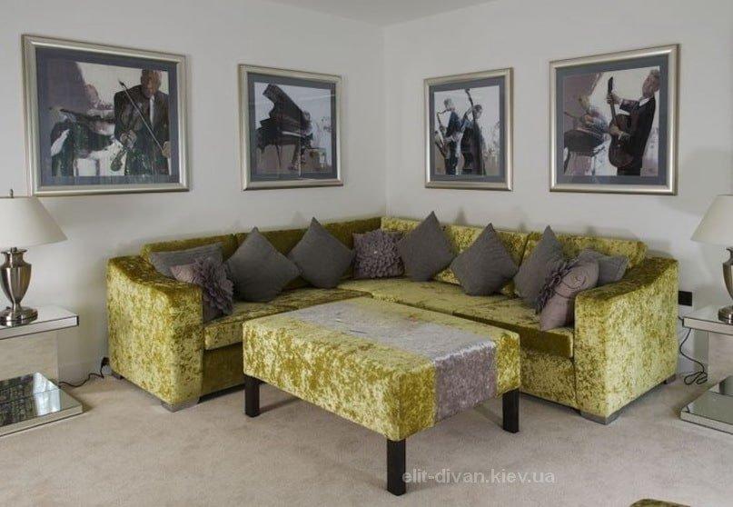диван желтый угловой
