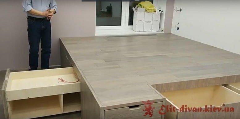 подиум с кроватью и ящиками на заказ
