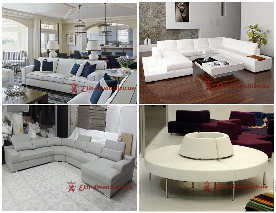 круглый белый диван под заказ Киев