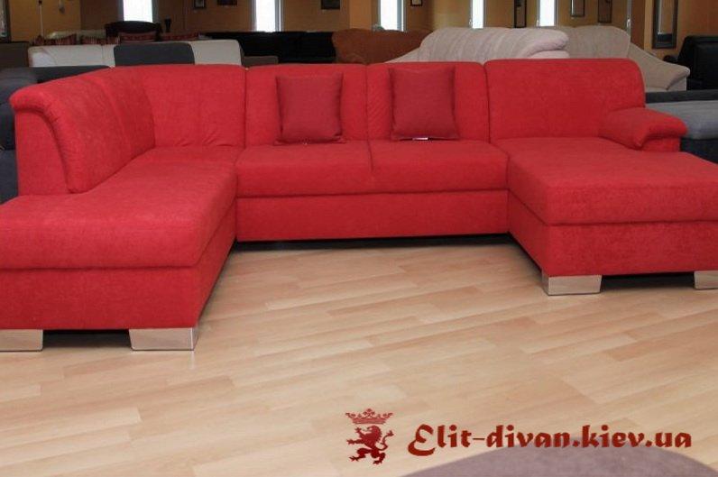 красный п образный диван