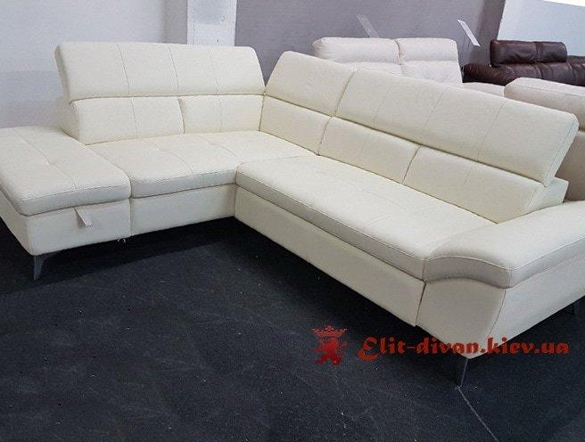 белый угловой диван кожа