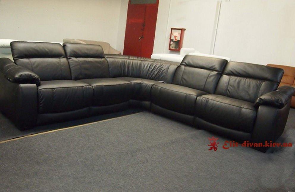 черный диван на заказ из кожи