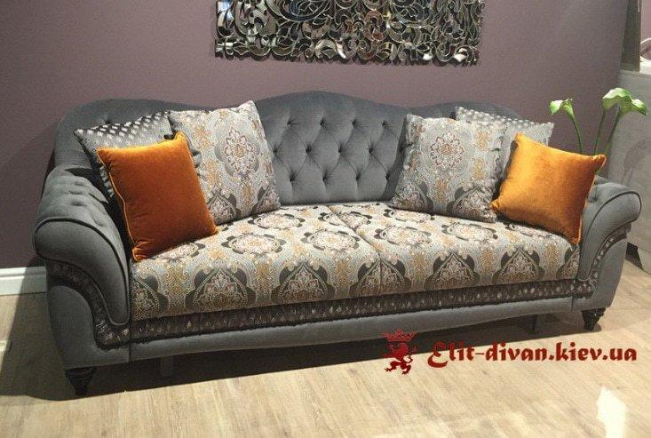 классический прямой диван с подушками под заказ