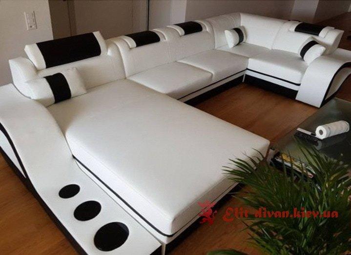 синий умный большой с образный диван под заказ