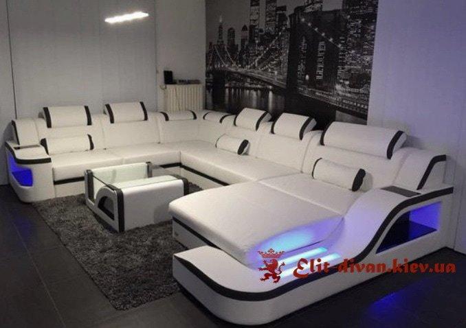 синий умный большой с образный диван с подсветкой