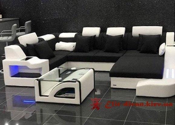 заказать изготовление с-образного дивана черный
