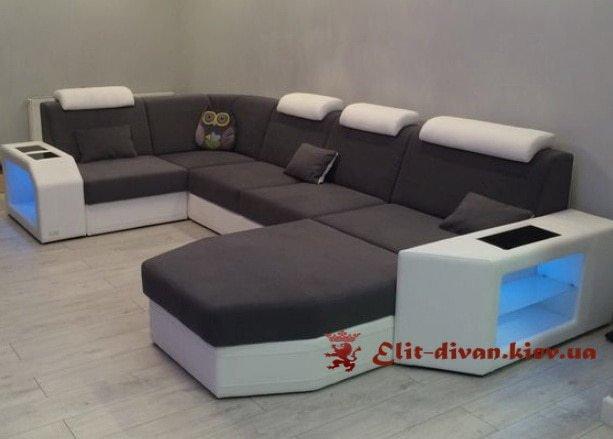 заказать изготовление с-образного дивана черный Киев Украина
