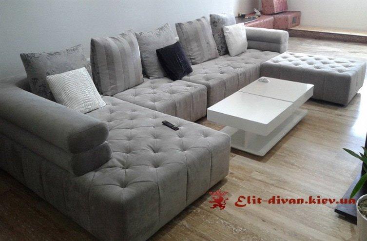 белый п образный диван под заказ для гостиной честер