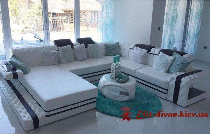 белый п образный диван под заказ для гостиной на заказ