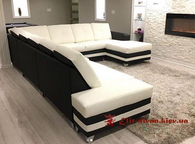 белый п образный диван под заказ