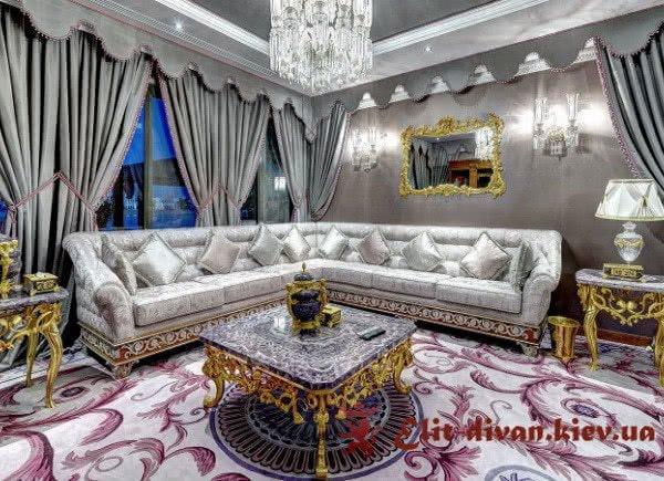 кожаный угловой коричневый диван под заказ