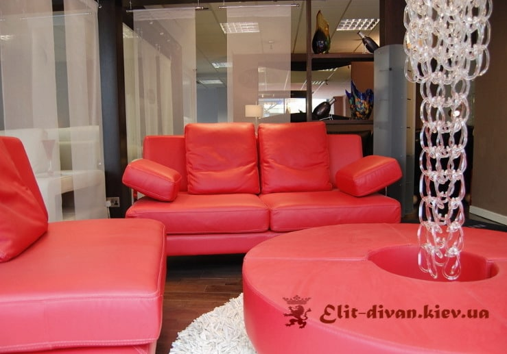 гарнитур мягкой красной мебели на заказ