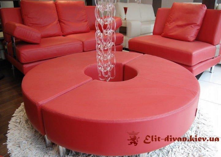 гарнитур мягкой красной мебели на заказ в Киеве