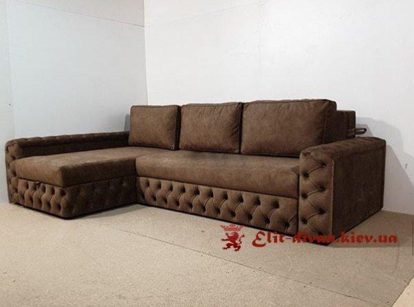 полосатый серый угловой диван честер