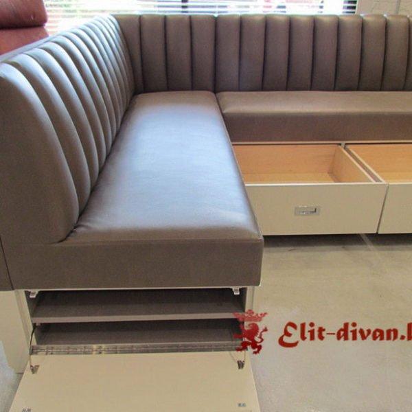 серый угловой диван с ящиками на заказ