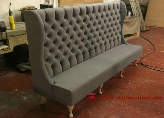 серый прямой необычный дизайнерский диван под заказ в Киеве