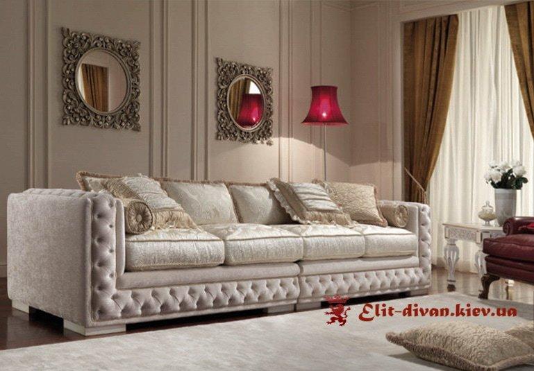 прямой диван в классическом стиле с каретной стяжкой