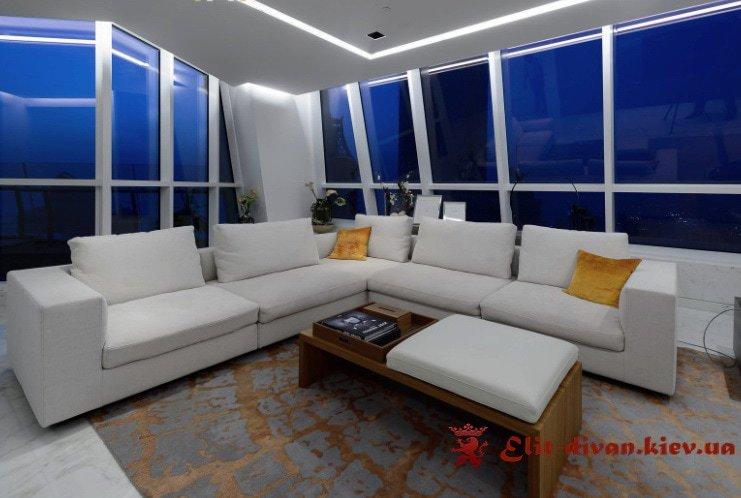 авторский белый диван в гостиницу на заказ