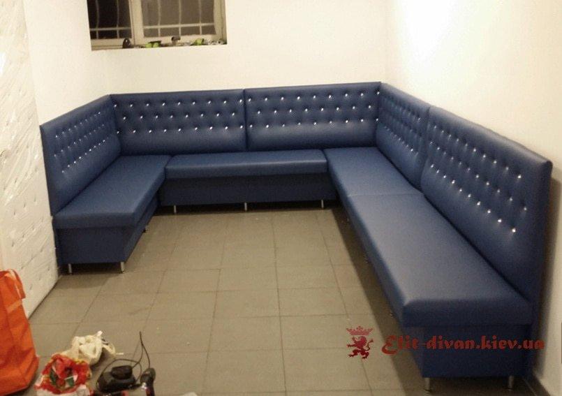 п образный диван синий в ресторан под заказ