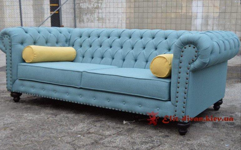 голубой диван естер в вишневом на заказ