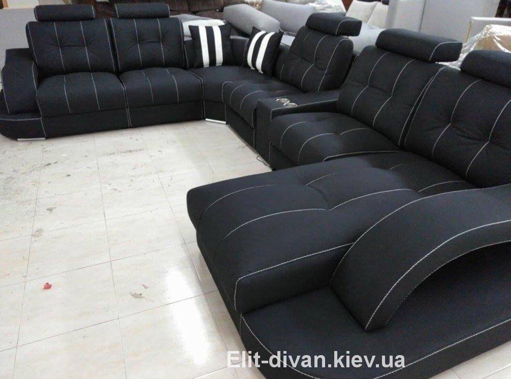 черный угловой авторский диван подол
