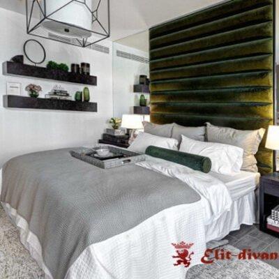двухспальняя кровать с мягким изголовьем купить