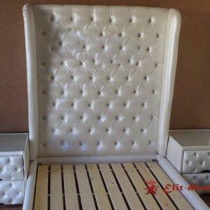 дизайнерская двухспальняя кровать на заказ с тумбами