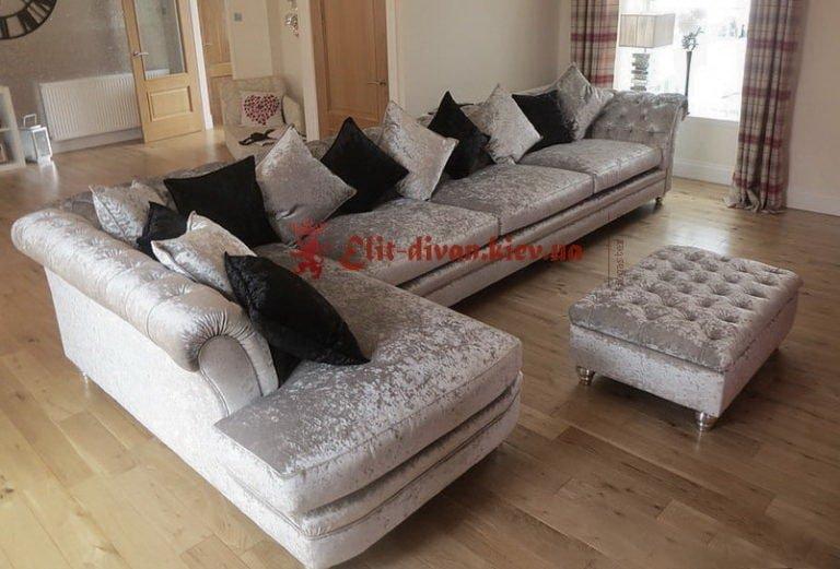 элитный угловой диван с подушками