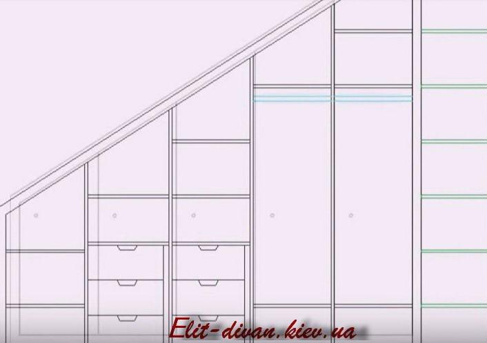 проект мебели на чердак