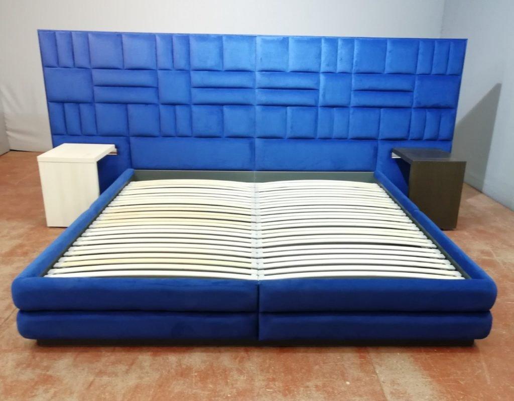 кровать мягкая синего цвета под заказ