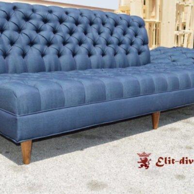 Прямий диван синій