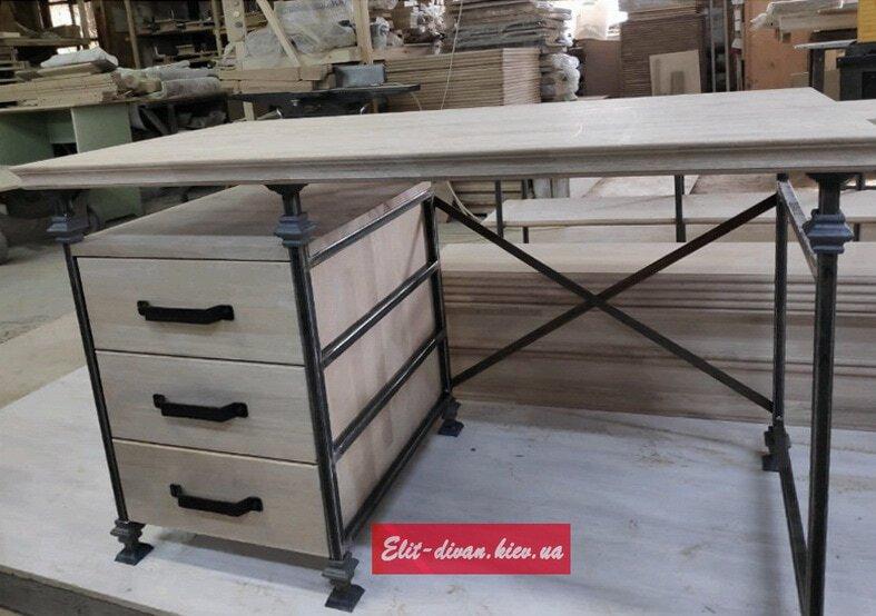 столы из дерева в стиле лофт