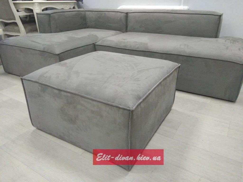 Модульный диван на заказ с пуфиком