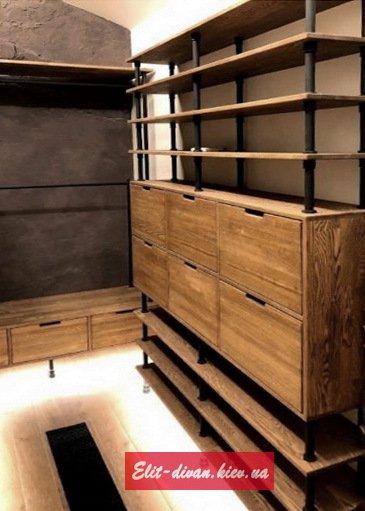 Стеллажи и этажерки лофт из массива дерева