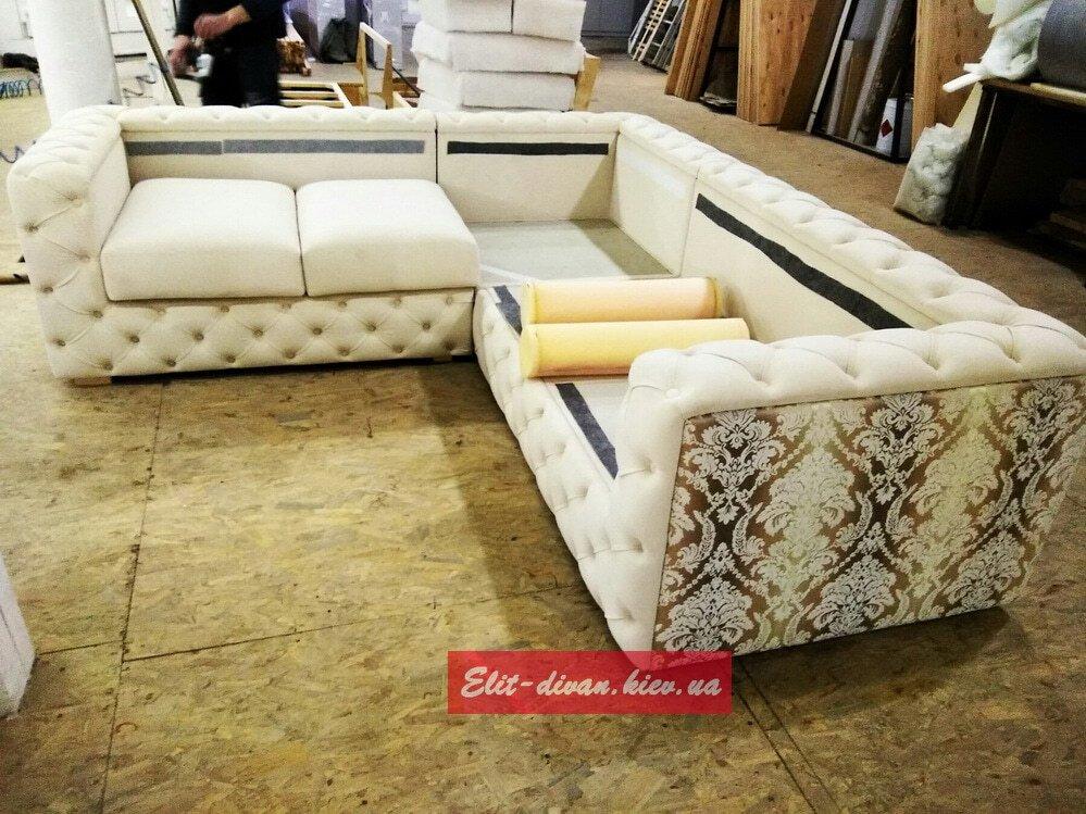 угловой диван в гостинную Вишневое под заказ
