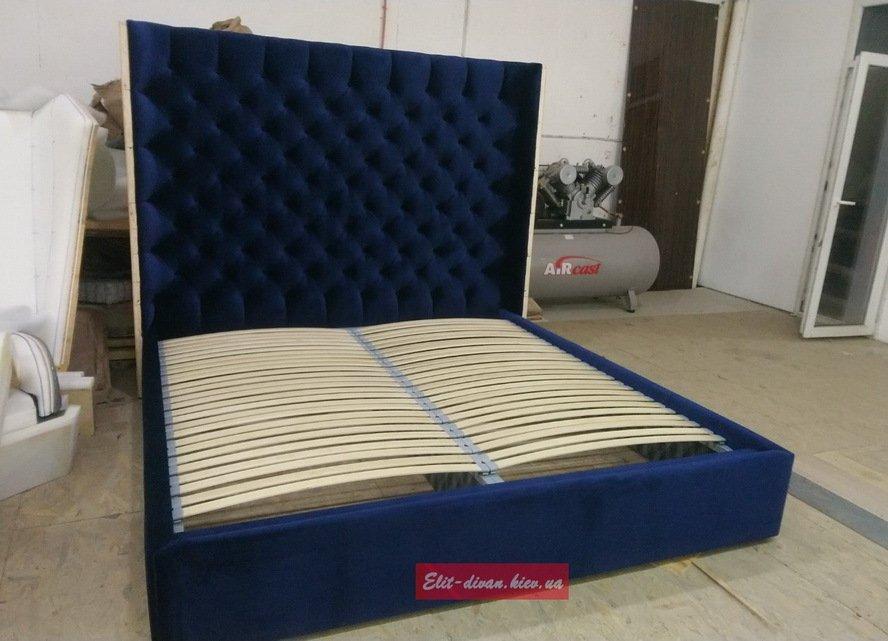Синяя двуспальняя кровать стоимость