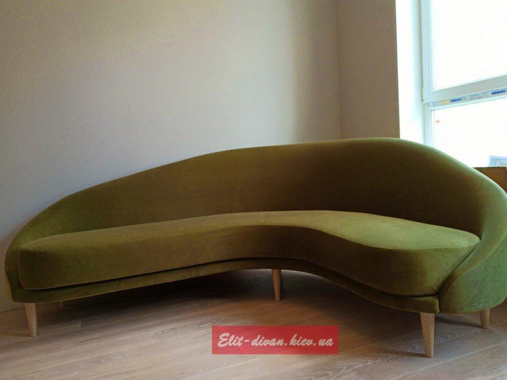 Радиусный Дизайнерская зеленый диван в гостиную