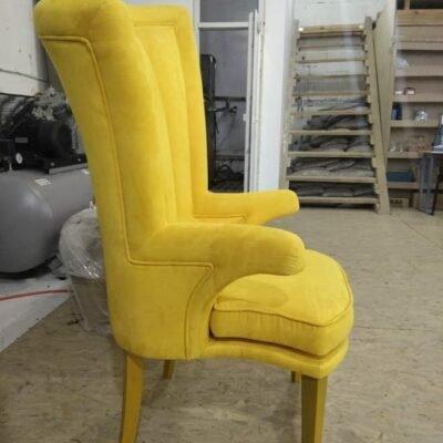 желтое кресо с высокой спинкой под заказ в Киеве
